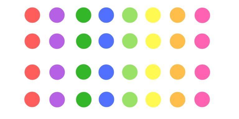 ولی در تصویر زیر دایره های هم رنگ کنار هم قرار گرفته اند و اکنون می بینیم که برخی از این اشکال دایره ای با هم ارتباط داشته (هم رنگ هستند) و متمایز نبوده اند.