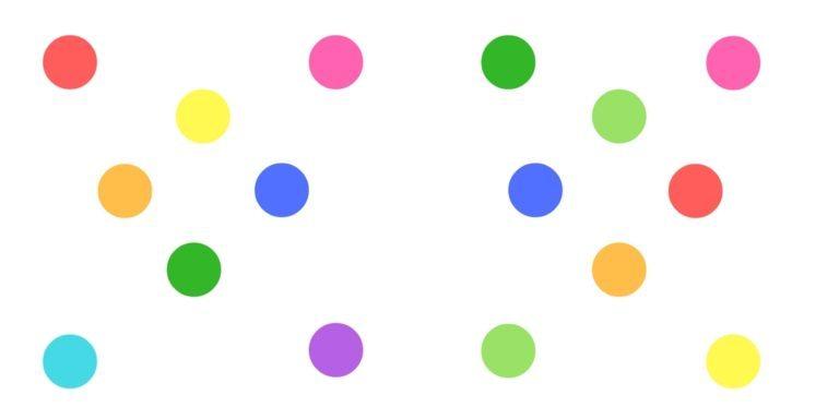 مثال ساده ی زیر نشان می دهد که چگونه مجاورت به درک ارتباط اشیاء کمک می کند. تصویر زیر یک سری دایره های رنگی را نشان می دهد که به نظر مجزا و متمایز از هم هستند.